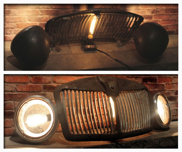 """Beautiful Recycled Vintage Automobile Car Grill Floor Lamp  #Antique #Automobile #Car #FloorLamp #Handmade #LightBulb #MGA #Recycled #Retro       Check out this awesome authentic 1960's MGA Roadster Grill and Headlights. It's vintage character has been restored into this awesome """"One..."""
