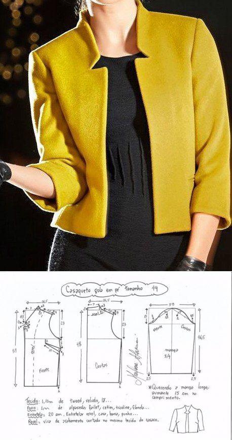 Schnittmuster. Die Jacke mit dem Ärmel 3 /4.razmery 36-56 (Euro) … , #4razmery #Ärmel #de…