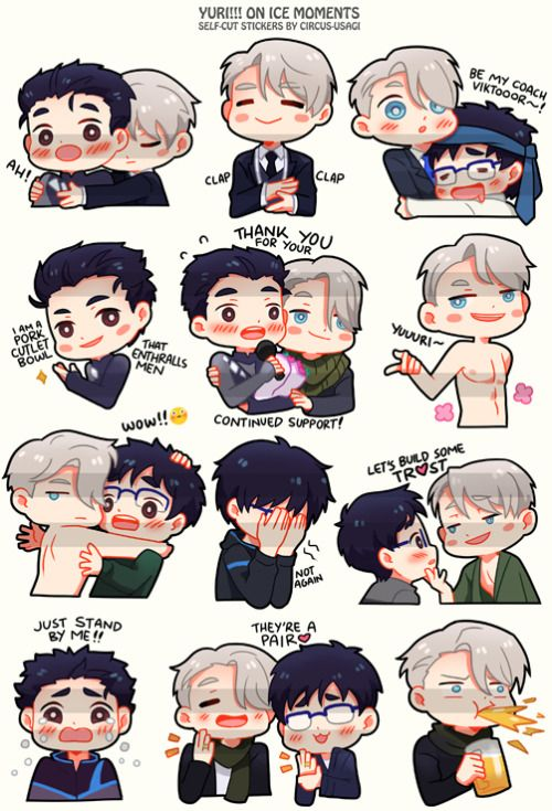 "girlwiththewhiterabbit: ""did these while binge watching YOI from the beginning and quickly doodled out some favorite parts! there's just too much to love in every scene, i kinda want to draw them all haha! I printed some last minute for the event,..."