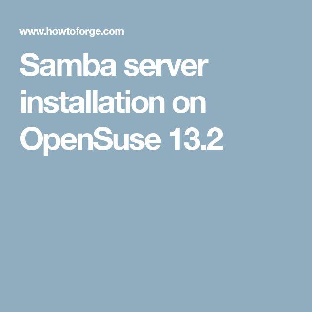 Samba server installation on OpenSuse 13.2