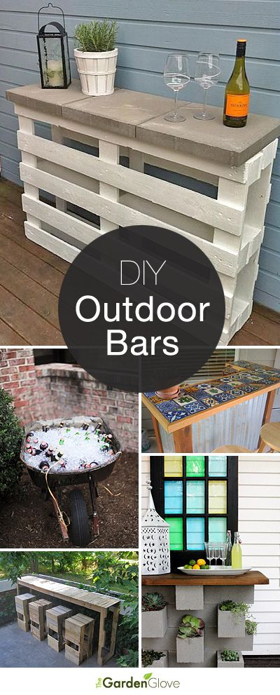 Cocktails Anyone? • DIY Outdoor Bars! • A round-up of Ideas and Tutorials from around the web.
