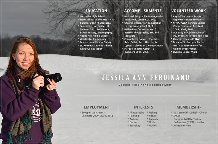 photographer resumes examples - Google Search Notes to Self - photography resume examples