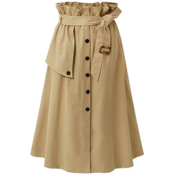Plain Belt Single Breasted Elastic Waist Flared Maxi Skirt ($27) ❤ liked on Polyvore featuring skirts, maxi skirts, long flare skirt, flared maxi skirt, long maxi skirts and cotton maxi skirt