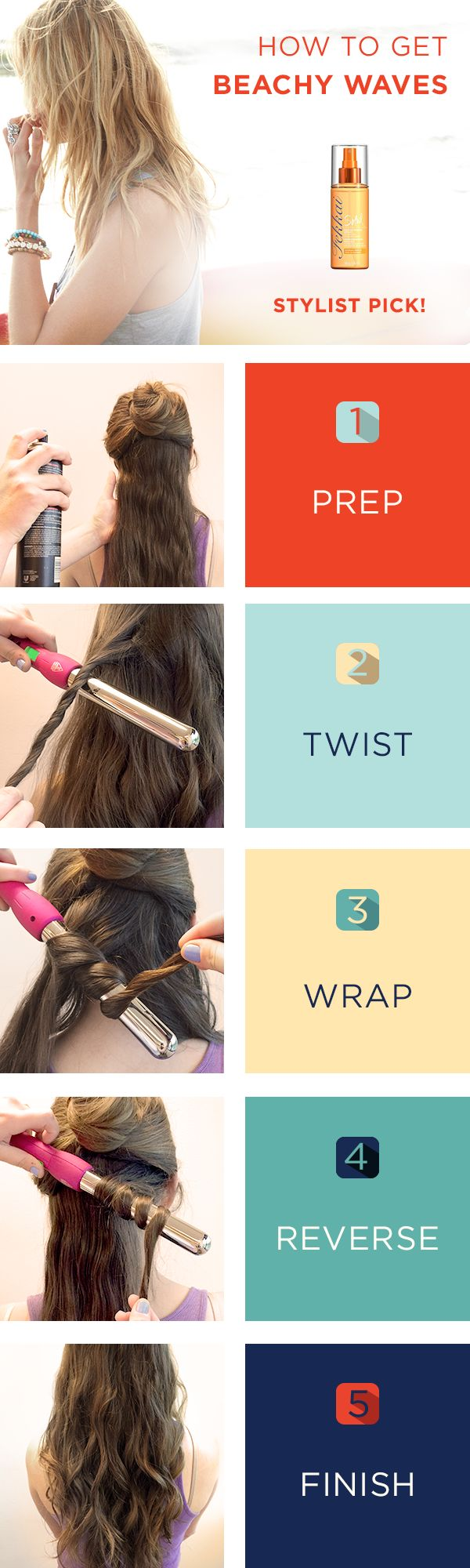 Our favorite summer hair style? Beachy waves. They're carefree, beautiful and easy! Try them for yourself with this tutorial. 1. Prep with Fekkai Soleil Beach Waves spray. Work with hair in sections, starting at the bottom. 2. One at a time, twist a section. 3. Then wrap the twist around a curling iron, leaving the bottom inch free. 4. Alternate between wrapping the strands clockwise and counterclockwise. 5. Finish with your favorite hairspray.
