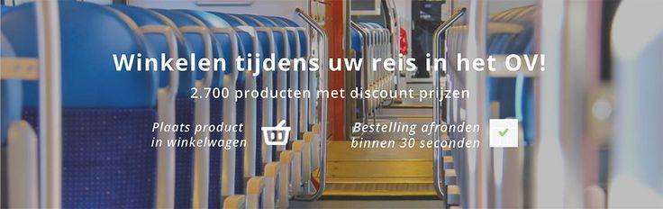 Reiziger winkelt tijdens zijn openbaar vervoer reis de producten bij elkaar op www.OVStore.nl