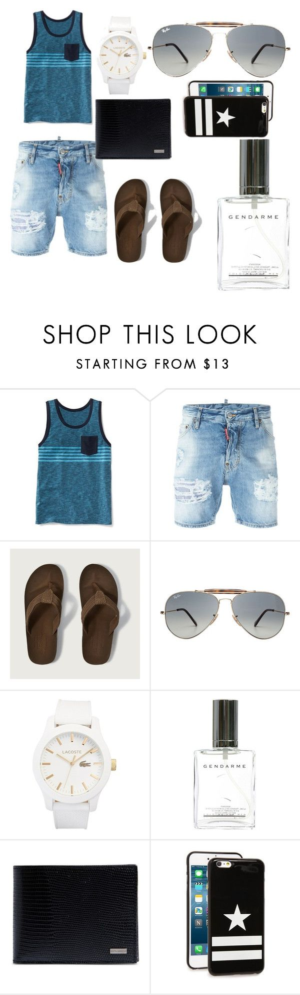 """guys summer/beach outfit"" by wealthy890xx ❤ liked on Polyvore featuring Old Navy, Dsquared2, Abercrombie & Fitch, Ray-Ban, Lacoste, Dolce&Gabbana, Givenchy, men's fashion and menswear"