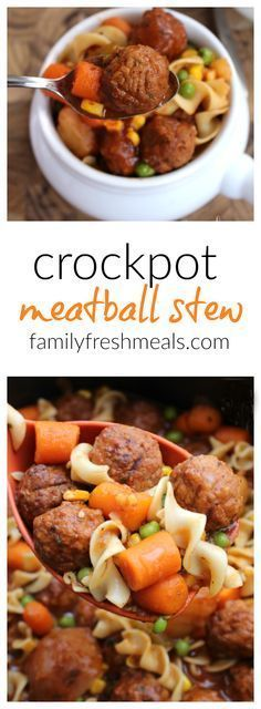 Because it's easy to keep a bag of meatballs in the freezer, ready to go, you can make this Easy Crockpot Meatball Stew pretty much any time you want. A family favorite! #familyfreshmeals #crockpot #slowcooker #meatball #stew #recipe #crockpotsoup #easyrecipe
