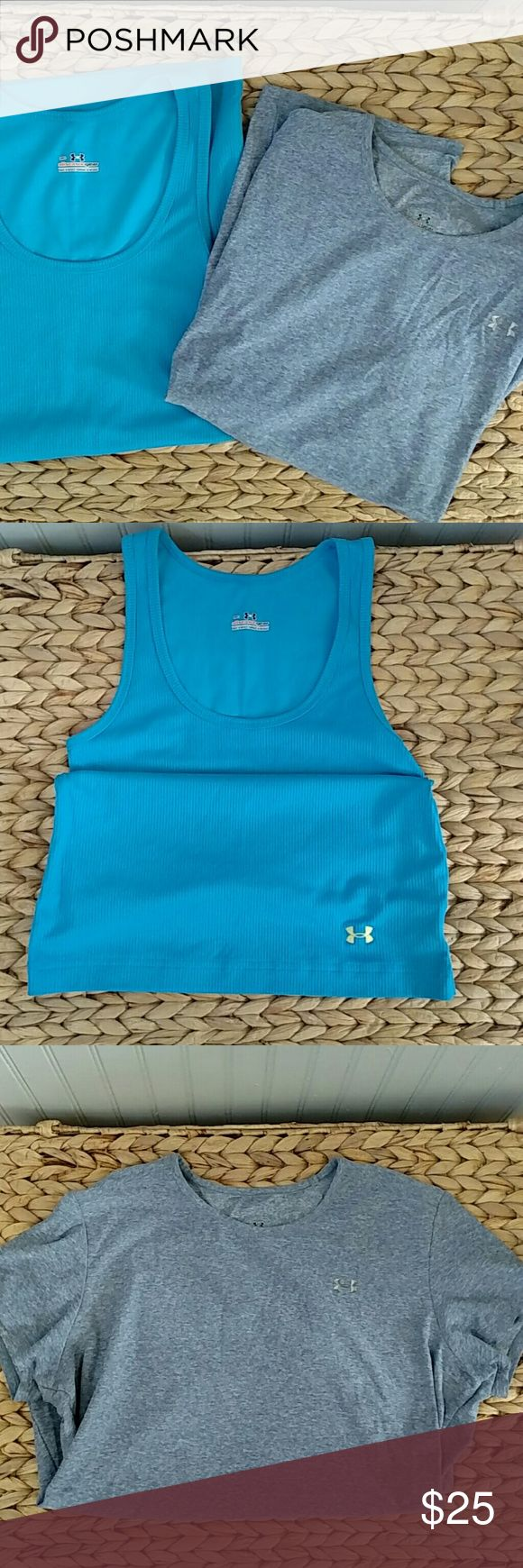 Under Armor Athletic Shirt Bundle Great bundle here! You get an Under Armor heat gear short sleeve shirt (size L) and an Under Armor all season gear tank top (size M)! This is a great deal! Both tops are in great condition! Under Armour Tops