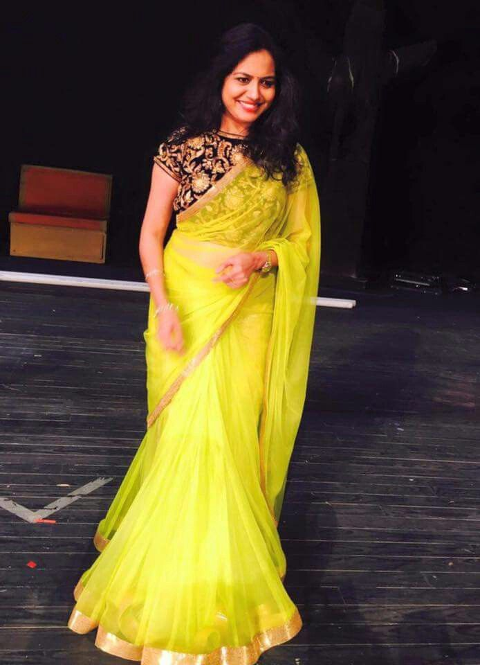 Singer Sunitha yellow saree #singersunitha #tollywood #telugu