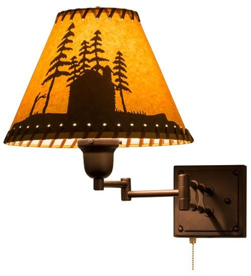 "12-17.5""W Cabin in the Woods Rustic Swing Arm Wall Sconce"