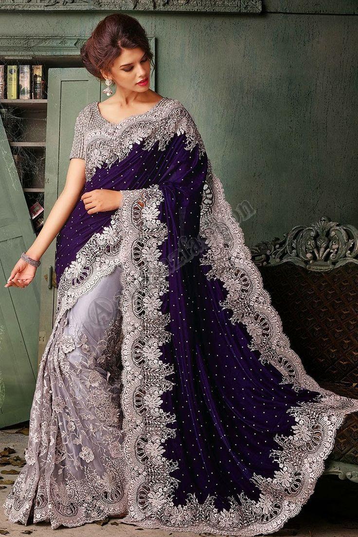 Violet Saree velours Conception n ° DMV7382 Prix: -263,65 € Type de robe: Saree Tissu: Velvet Couleur: Violet Embellissements: cutdana, Brode, Resham, Pierre, Zari Pour plus de détails: - http://www.andaazfashion.fr/purple-velvet-saree-with-purple-art-silk-blouse-dmv7382.html