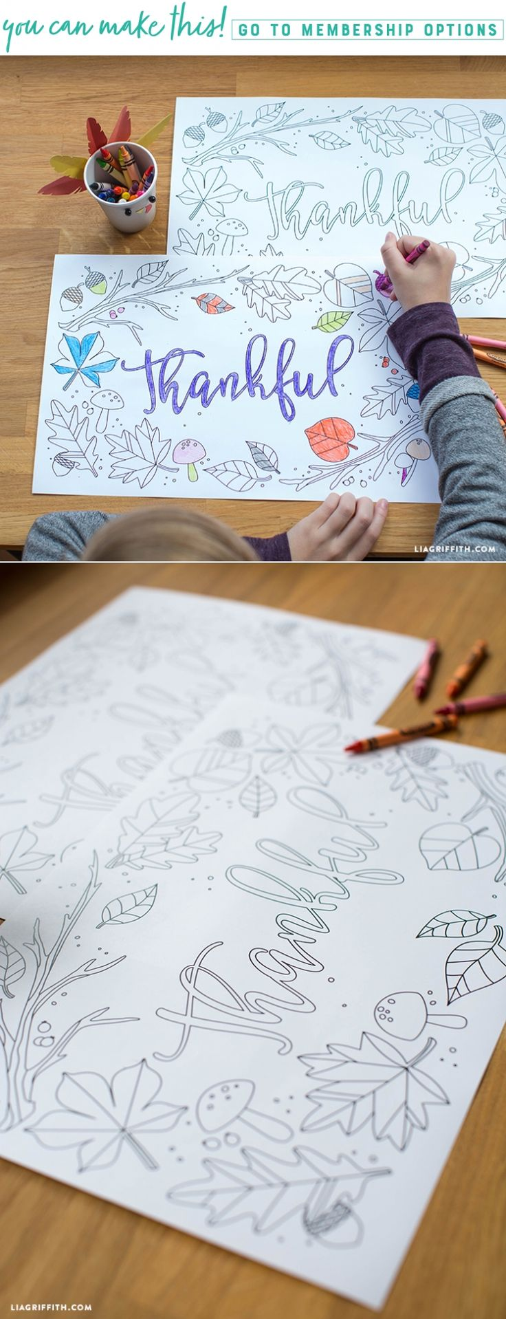 Kids Thanksgiving Coloring Placemats - Lia Griffith - www.liagriffith.com #thanksgiving #givethanks #homefortheholidays #printables #diykids #diyinspiration #madewithlia