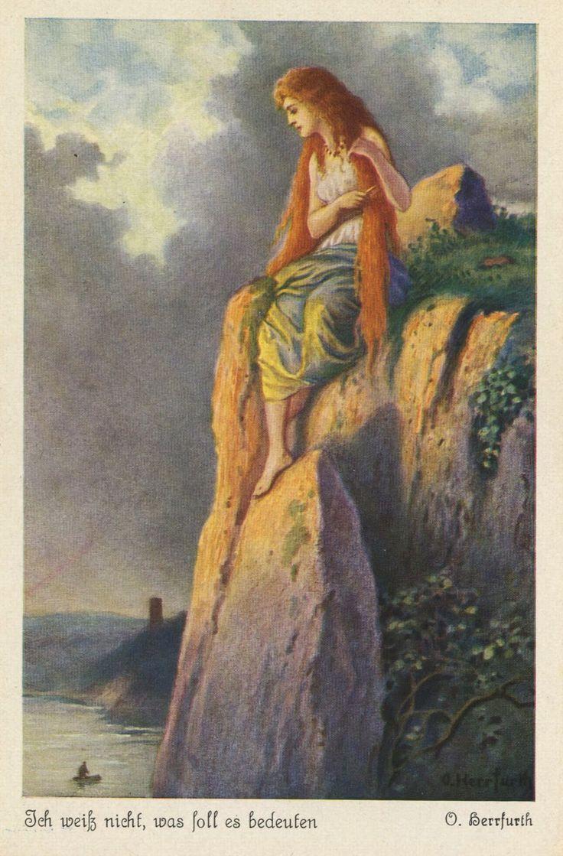 Die Sage von der schoenen Lorelei am Rhein