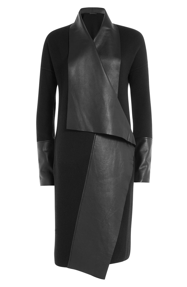 Wool Coat With Leather detail 0