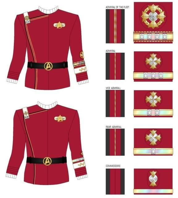 """My favorite Starfleet outfits, the """"monster maroons."""" :) Kinda disappointed they don't show the lower rank pins here, though. :("""