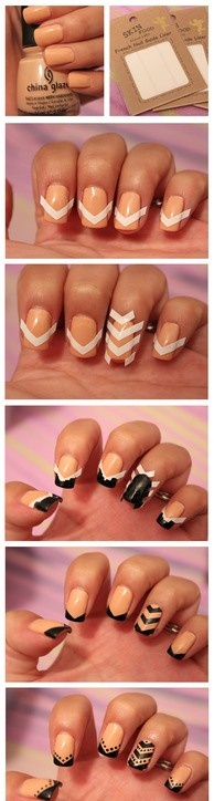 Nude Black Nail Design ... This is a flippin great idea.  I am going to try this.