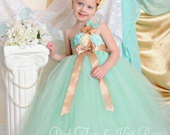 Vestido de niña de las flores-menta flor vestido de niña-menta y flor de oro niña vestido - vestido-menta y oro flor chica vestido