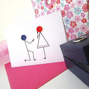 say yes!Cards Ideas, Cards Features, Buttons Art, Bodas Compromiso, Greeting Cards, Cards Inspiration, Rings Ideas, Buttons Cards, Buttons Proposals