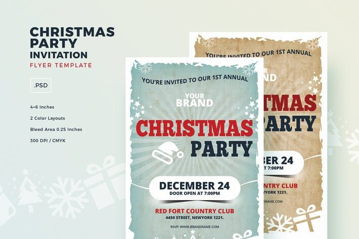 Christmas Party Invitation Flyer Template Event Celebration