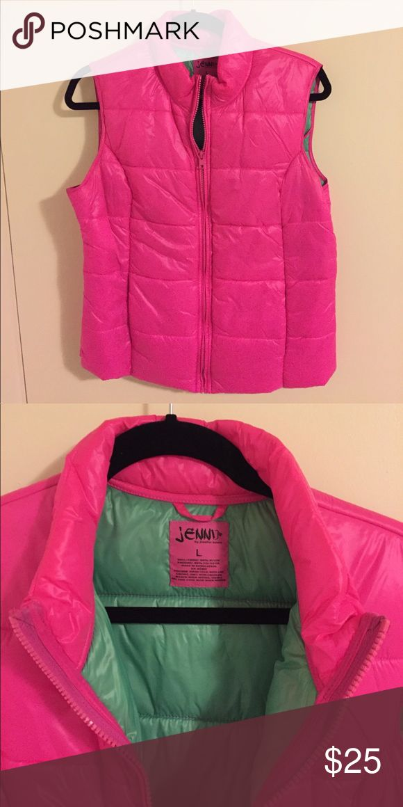 """LAST CALL Puffy Pink Vest Brand new without tags, puffy pink vest with pockets. Perfect for your next 80's theme party or a brisk night! Brand is """"jenni"""" by jennifer moore. *** last call, will be giving away soon. Bundle my last call items for even bigger savings!! Jackets & Coats Vests"""