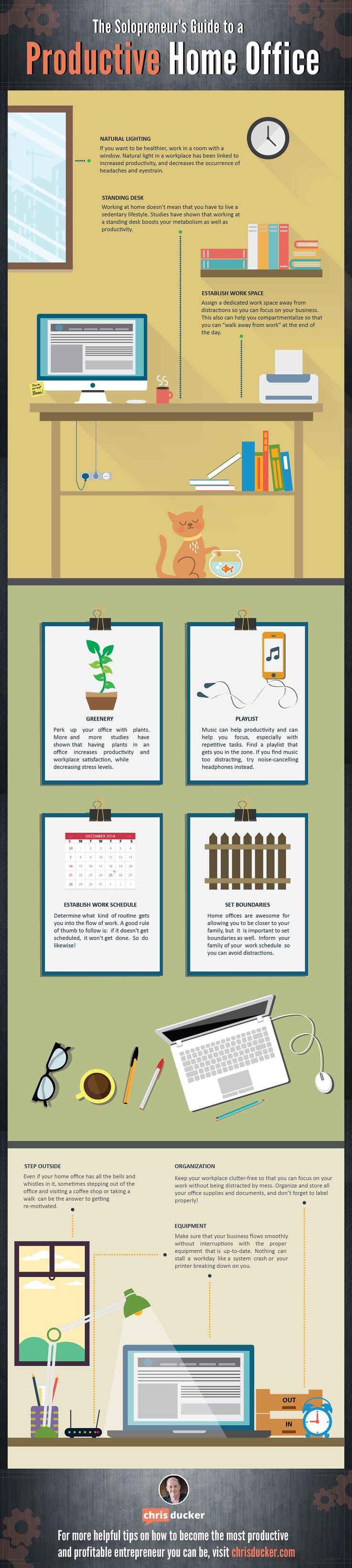 The Solopreneurs Guide to a Productive Home Office #Infographic #Business