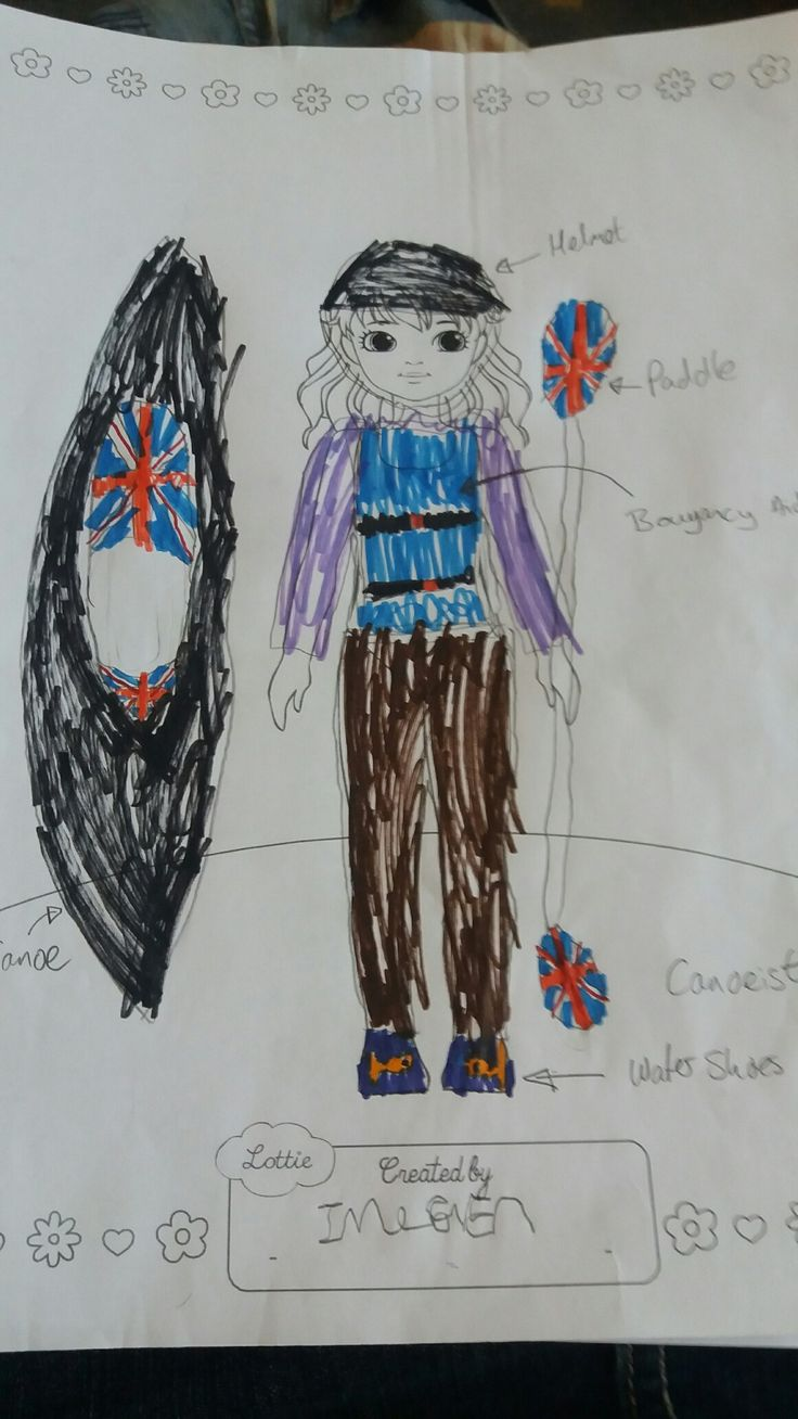 Lottie Outfit Design Competition - Imogen (age 8) was inspired by watching the Olympics. She has  designed canoeing Lottie, competing for team GB. Great work!
