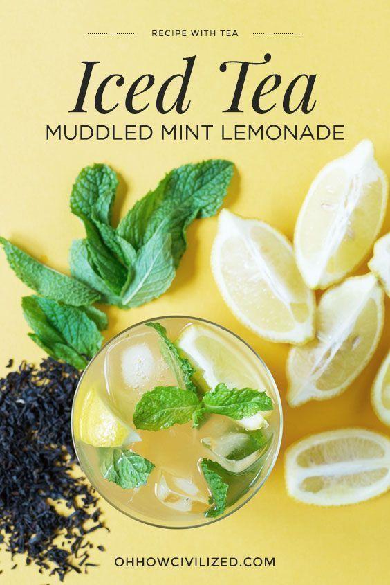 Muddled Mint Lemonade Iced Tea #icedtea #mint #lemonade #tearecipe #drink