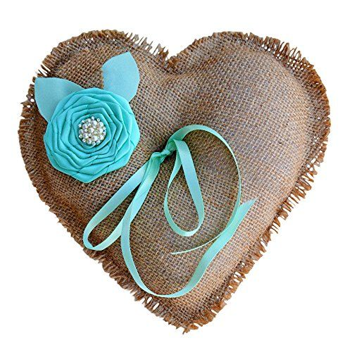 Burlap Ring Bearer Pillow Rustic Country Beach Wedding Ivory Coral Turquoise Bridal Gift (Natural/Turquoise)