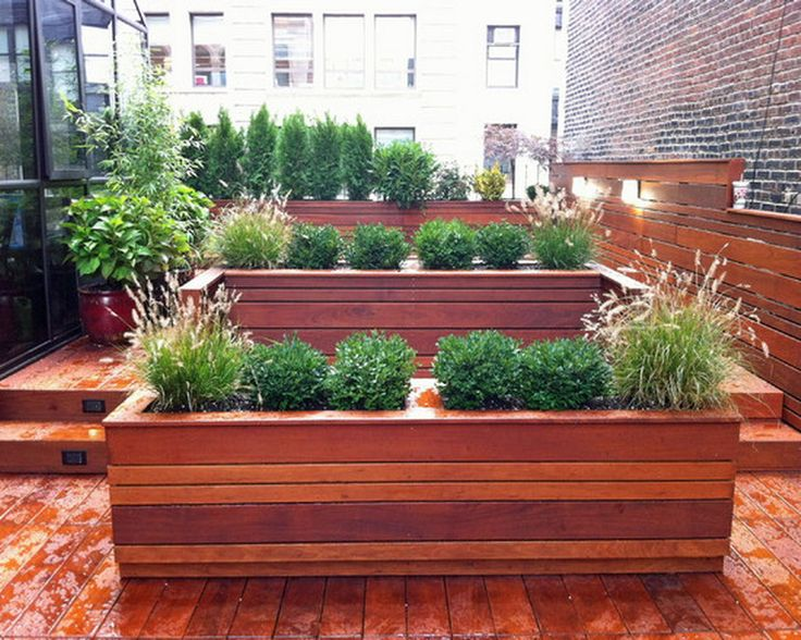 Custom Wooden Patio Planters Boxes Ideas on Roof Deck