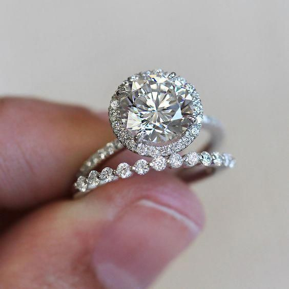 Details about 1.48 Ct Sim Diamond 14K White Gold Halo Solitaire Engagement Matching Bridal Set