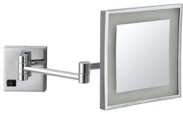 Wall Mounted 3x Lighted Makeup Mirror - contemporary - Makeup Mirrors - TheBathOutlet