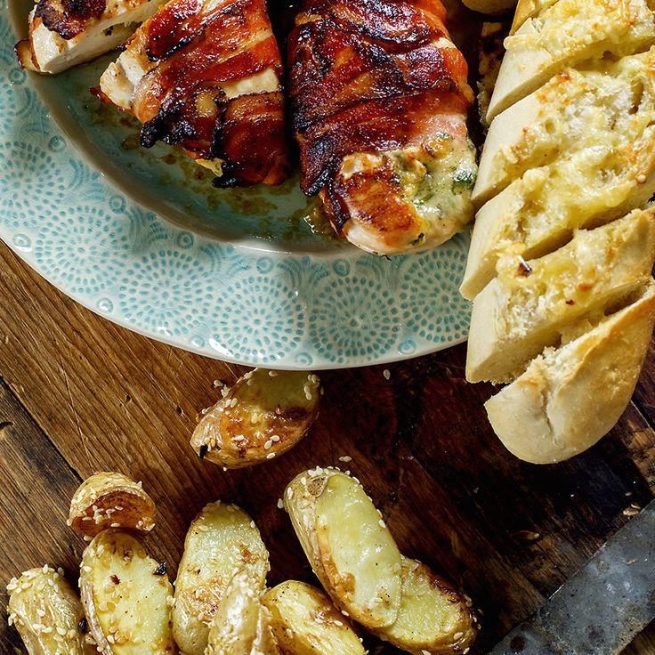 Baconsurret kylling fylt med mozzarella