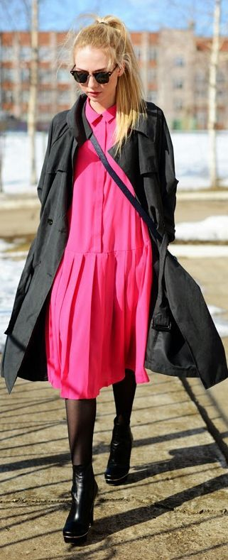 Front Row Shop Fuchsia Pleated Hem Oversized Shirt Dress by Fashion Around