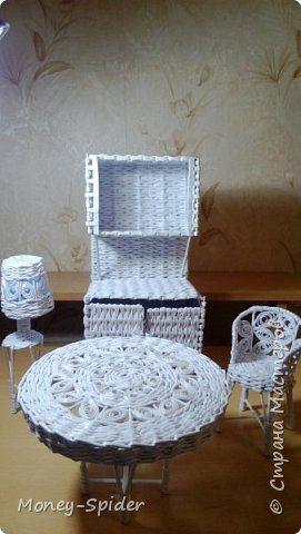 Кукольная жизнь Плетение Кукольная мебель Трубочки бумажные фото 12