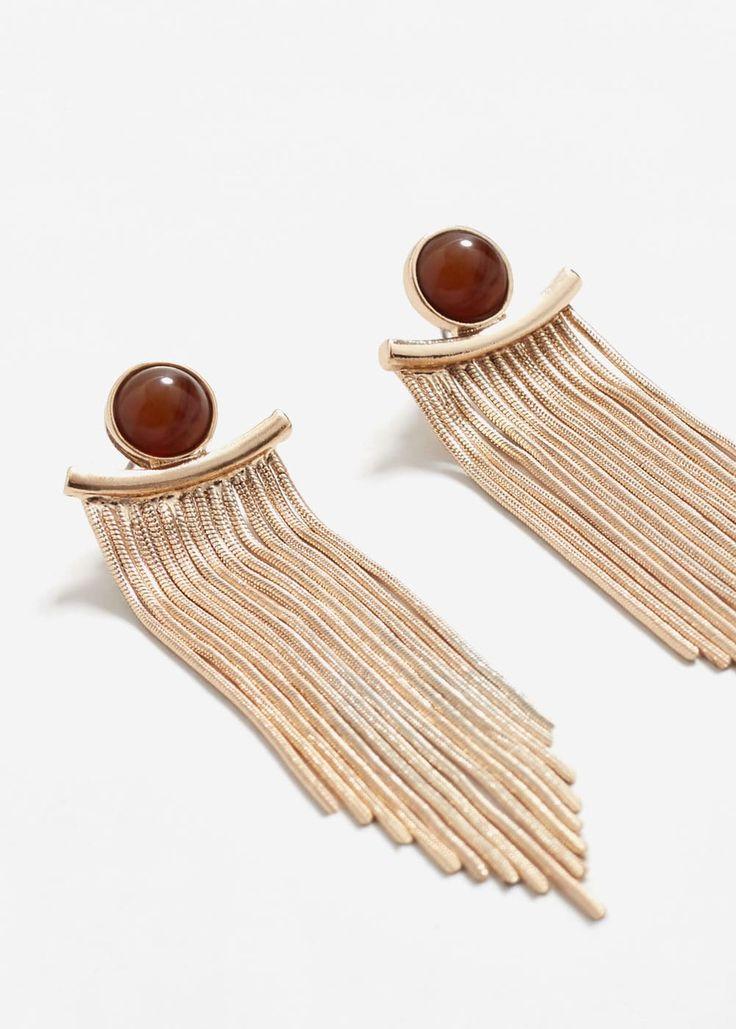 Metal pendant earrings   MANGO