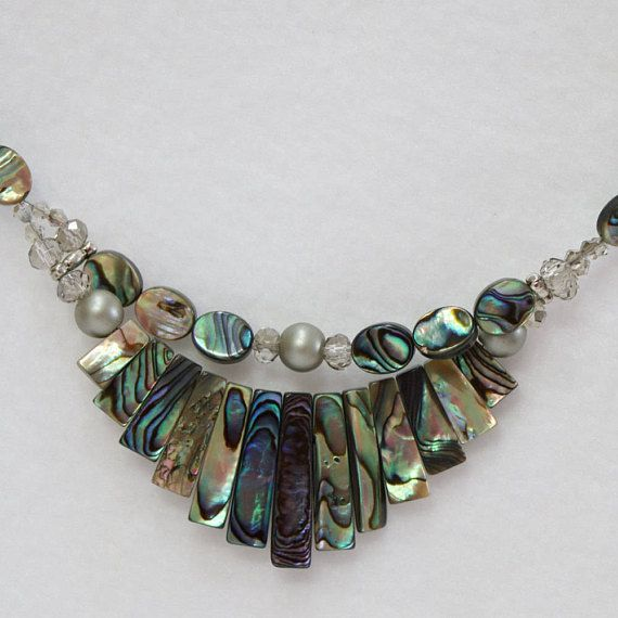 Abalone Shell bib necklace 24 inches long.  N-02
