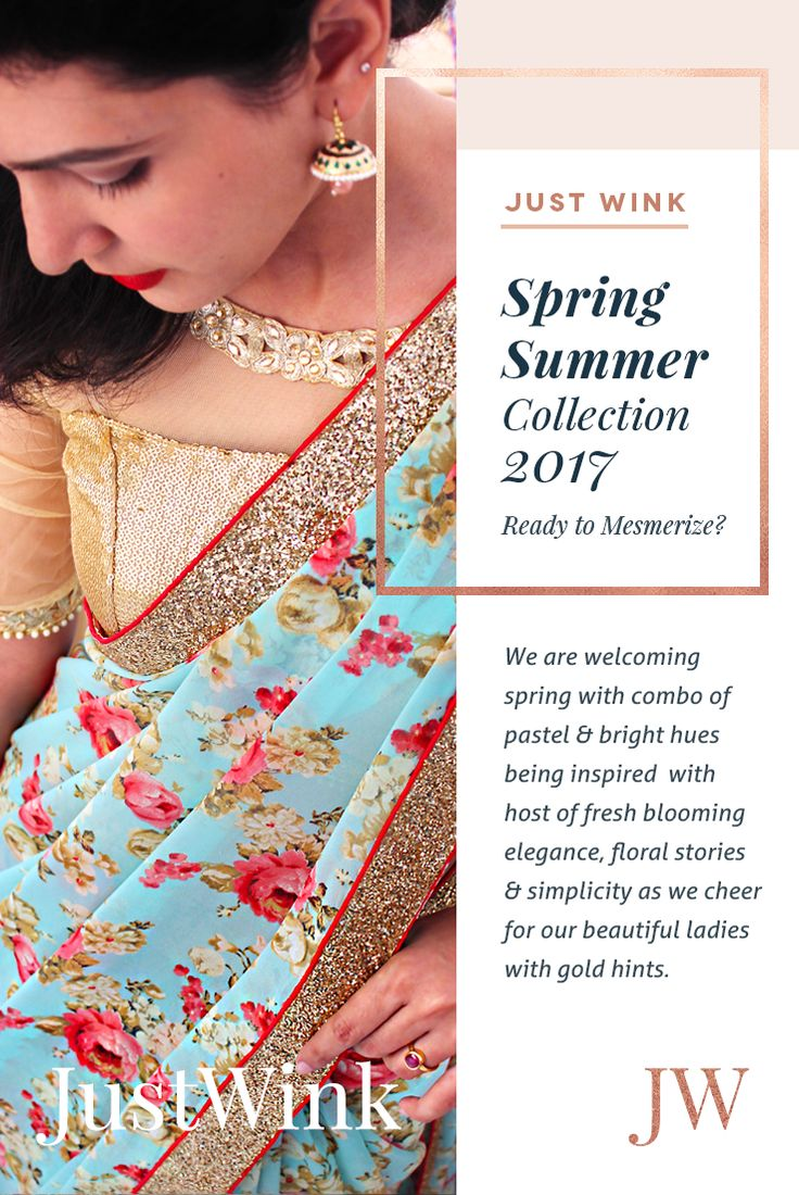 Just Wink's Spring/Summer 2017 Collection coming soon.. #Indianfashionbrand #Indianfashion #spring/summer #2017 #florals #floralsaree #saree #gold #sequinblouse