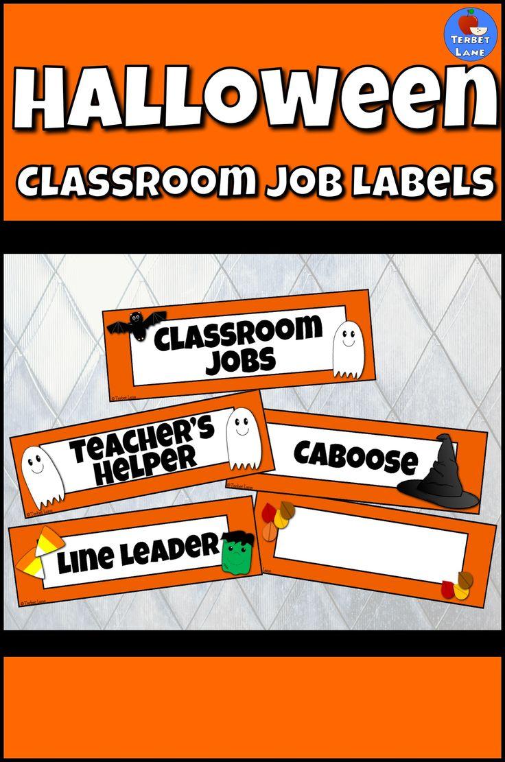 Halloween door decorations mummy downloader - Fun Colorful Halloween Classroom Job Labels