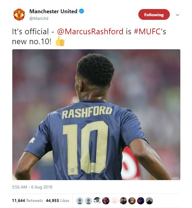 new style 898a2 4bdf7 Manchester United confirm Marcus Rashford will wear the ...
