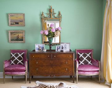 : Decor, Wall Colors, Colors Combos, Mint Green, Idea, Green Wall, Interiors Design, Pink Chairs, Colors Schemes