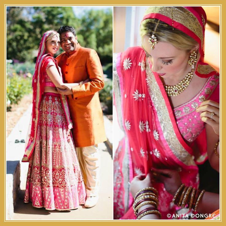 Bride Kelly Schmidt looks stunning as she walks down the aisle in a lehenga from our bridal collection.