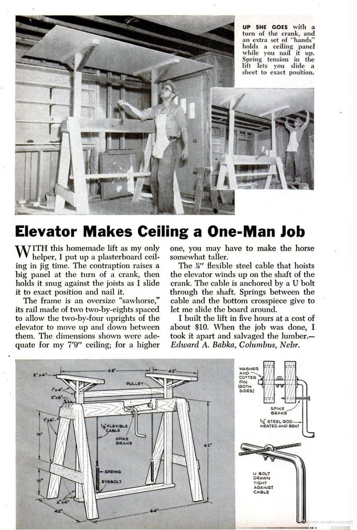 129 Best Ingenios Images On Pinterest Tools Woodworking And Workshop Here39s Wiring For Both Drive Systems Since I Don39t Know Which One You Elevator Makes Ceiling A Man Job Popular Science Circa Sept 1956