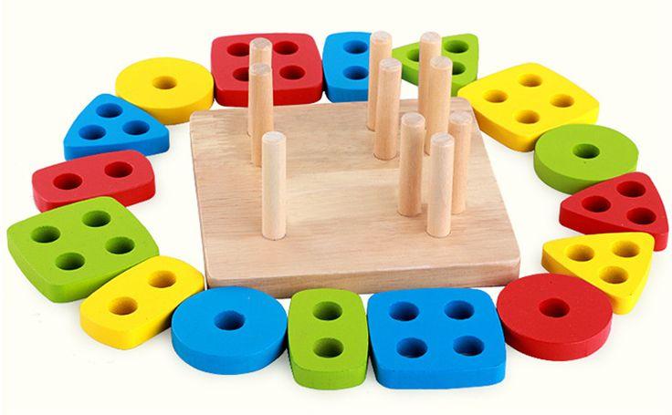 Игрушки для маленьких Детей Монтессори Деревянные Геометрические Сортировка Настольные Блоки Детские Развивающие Игрушки Строительные Блоки Ребенок Подарок