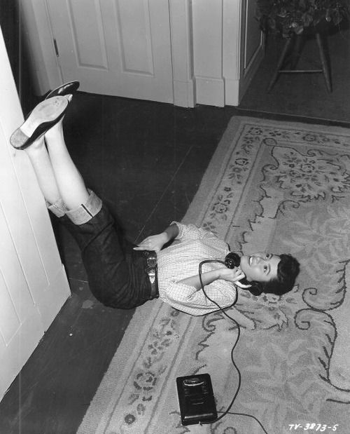 The odd positions we would lay in on the floor, especially when talking on the phone.