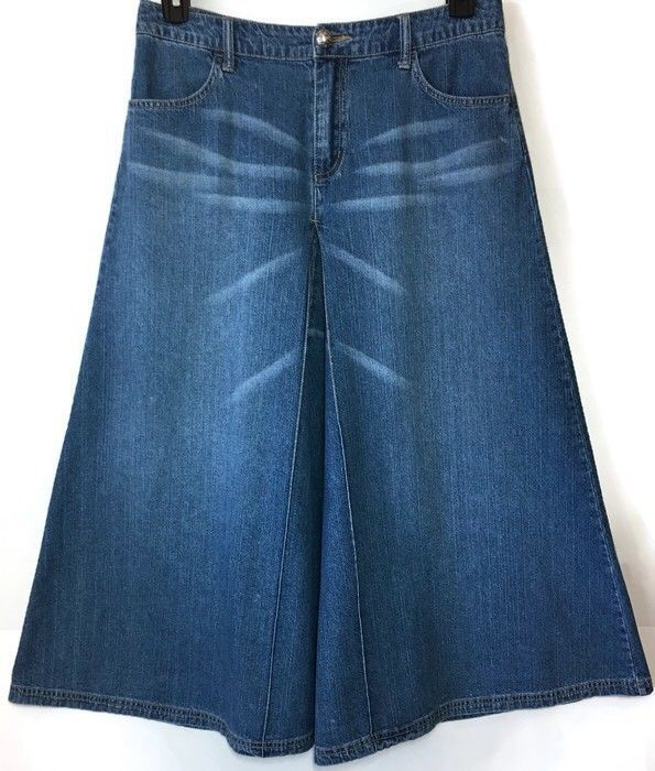 Cato Modest Denim Skirt 8 Full Distressed 30W 34L Long Prairie Boho Festival