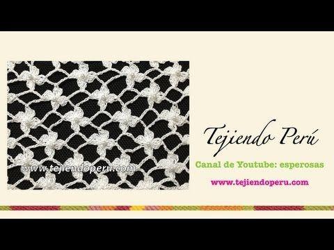 ▶ Cómo tejer el punto red de flores margaritas a crochet - YouTube