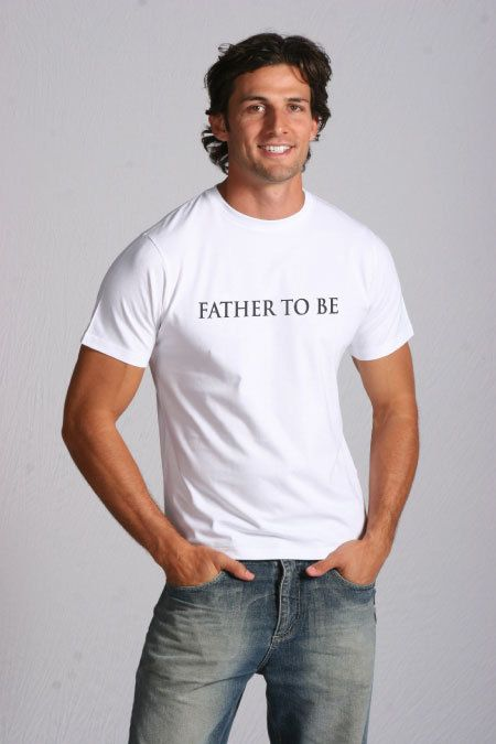 'FATHER TO BE' Men Tee.  Let the man in your life know you're Pregnant ink a unique way.  Buy him a Father to Be tee.  Available at www.miemporium.com.au. PS:  Yes … this is The Aussie Bachelor,