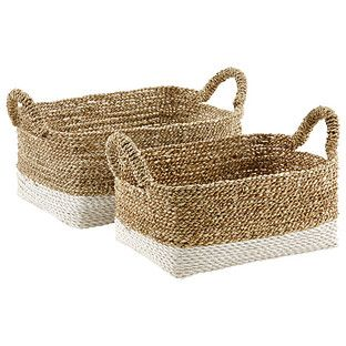 Store and tote your towels, toys, books and more in woven beach house style! Our Beach House Bin is made from natural sea grass, combined with plastic raffia that is twisted and woven and stitched by hand in Indonesia. The combination of both natural and white colors creates an elegant look perfect for additional storage that can be proudly displayed.
