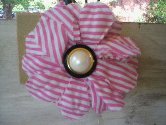 Shabby chic fabric flower pin and hair elastic/Button flower