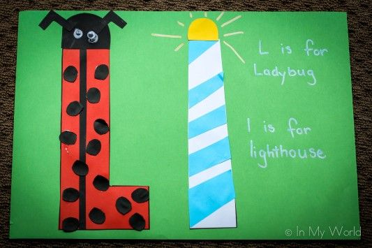 Preschool Letter Craft L is for Ladybug and lighthouse (link to FREE printable).